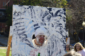 Students enjoyed trying to give teachers a pie in the face.  Photo by Ashton Leberfinger