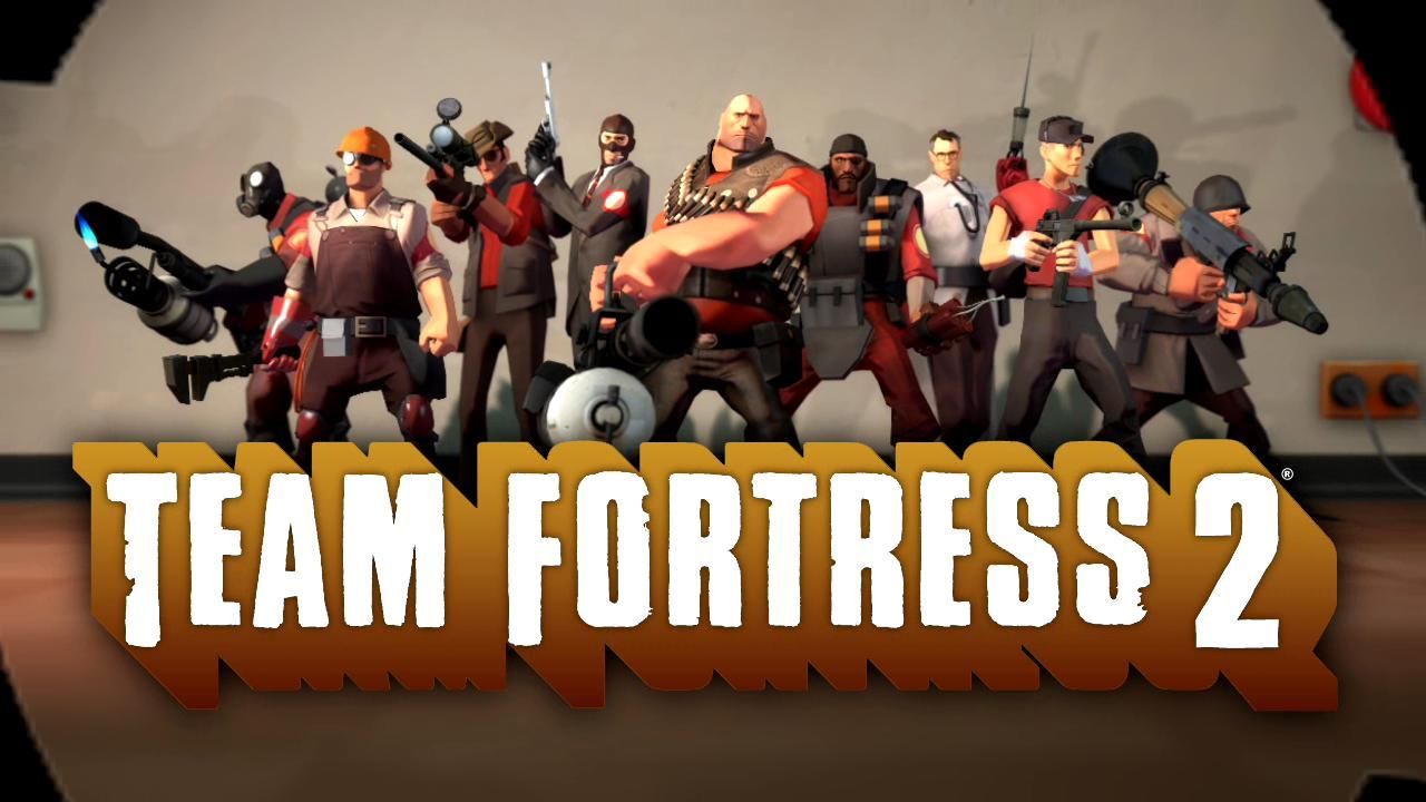 All the characters in the game Team Fortress 2 are in this picture.