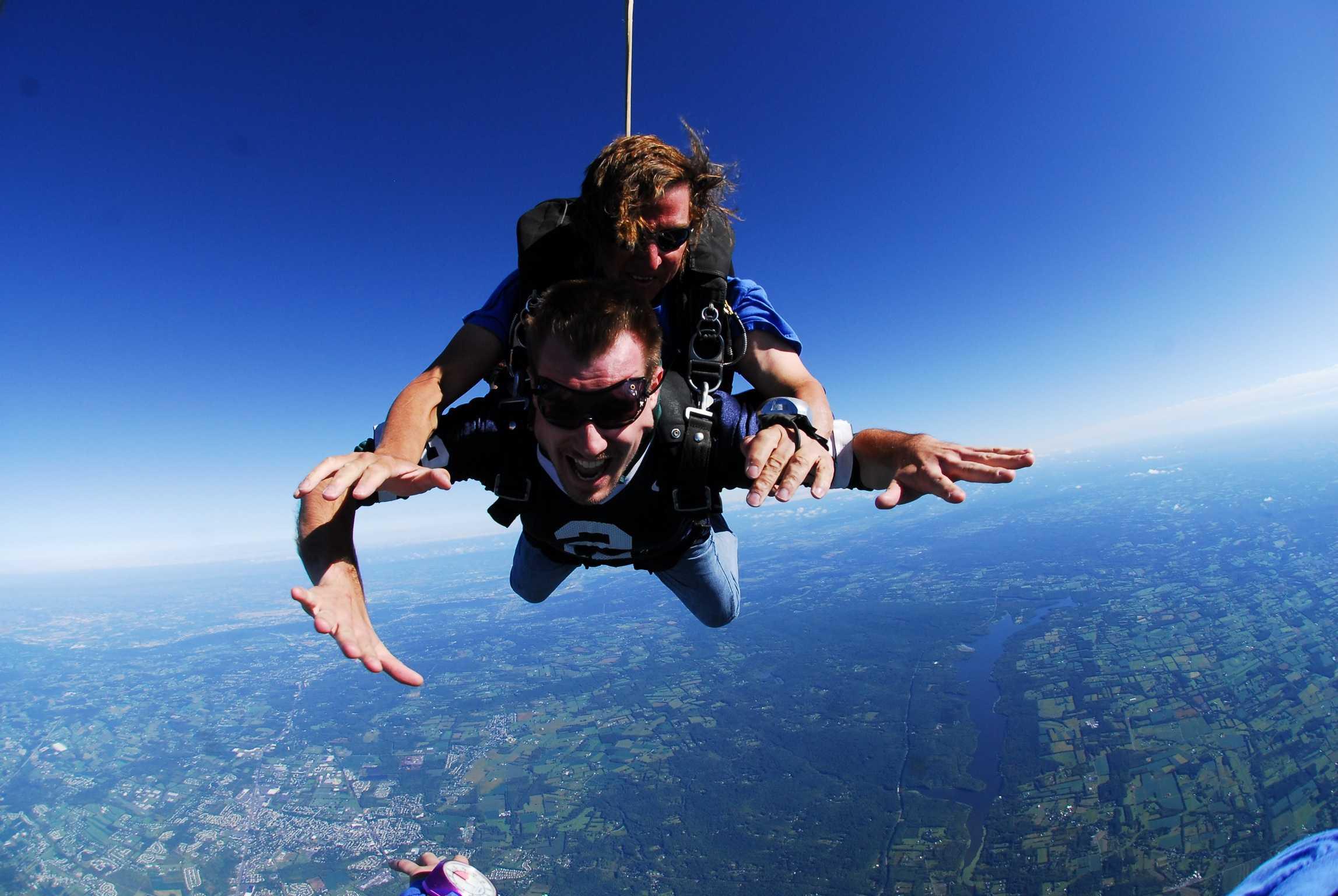 English teacher Jonathan Klingamen gave skydiving a try.