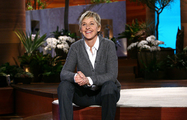 DeGeneres sitting on the set of her show.
