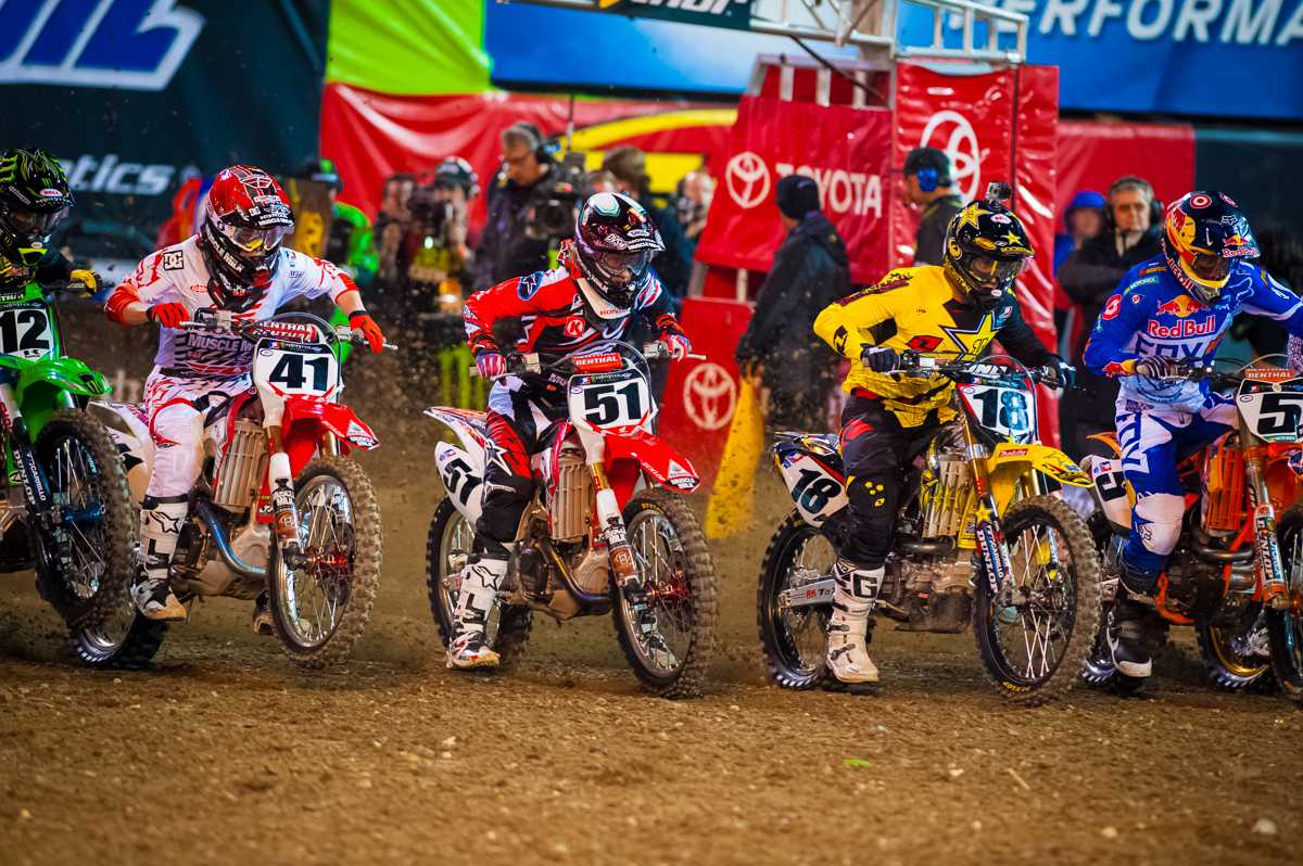 Millsaps at the starting gate in Anaheim, California. He started off the season right as he took the top podium spot. Photo courtesy of his own personal website.