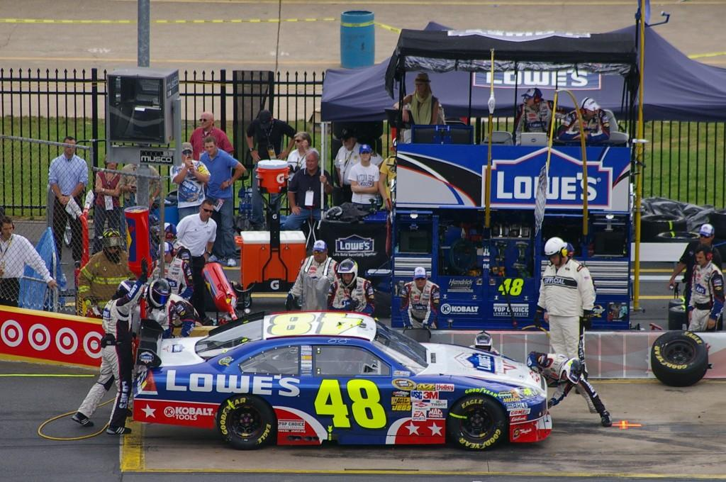 Jimmie Johnson during a pit stop during a race  Photo courtesy of tequilamike.