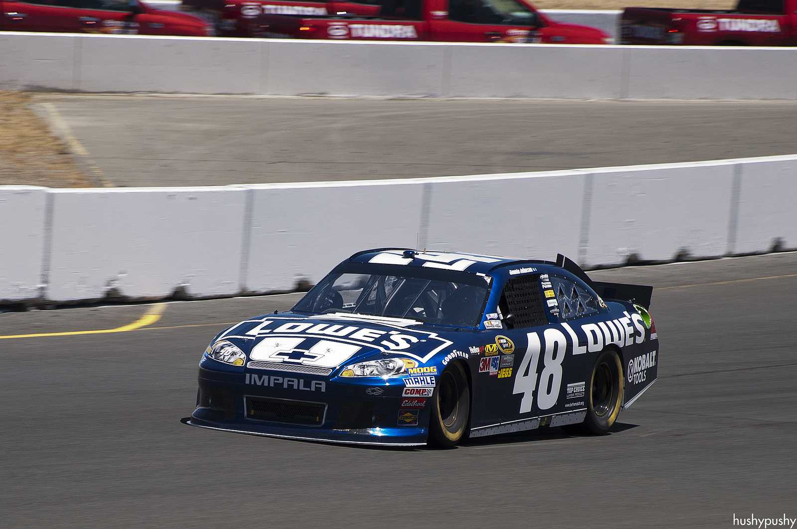 Jimmie Johnson racing for the win