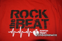 The Rock the Beat shirts sold by student council for the American Heart Association.