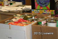 Students brought in many canned foods and boxed items for this event.  Photo taken by Tyler  McCloskey.