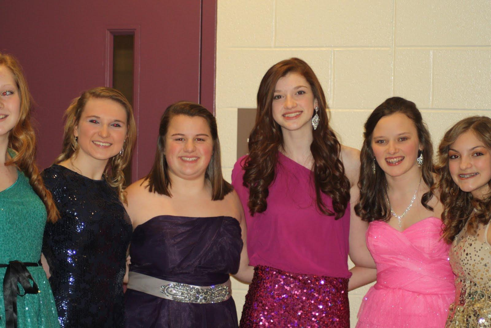A group of friends spends time together at the Sweetheart's dance. From left to right: Kelsey Alwine, Tessa Fogle, Morgan Paris, Rachel Pearlman, Allie Rabold, and Madison Frank