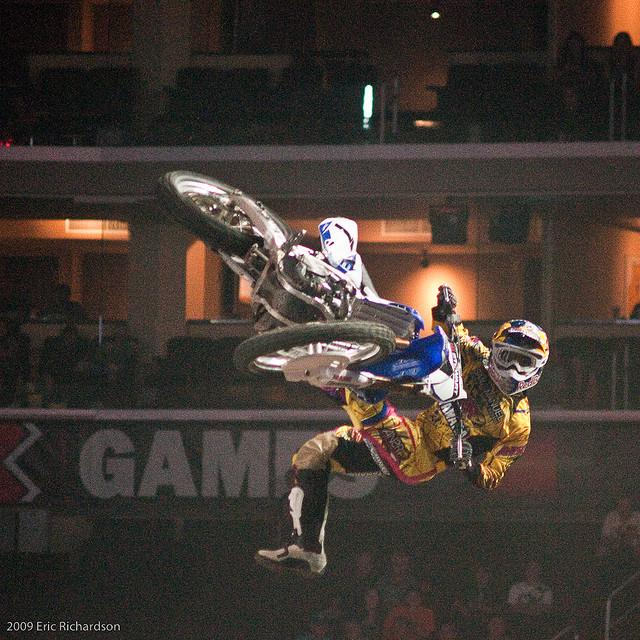 James Stewart does one of his many tricks during the X Games. He is taking his skills to the AMA tracks.