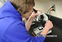 Eric Yarnell is looking at fiber through the microscope.