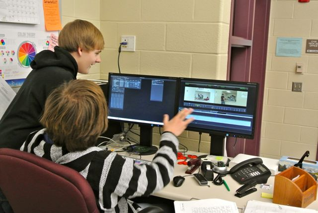 Drake Stephens and    edit clips for their segment for the upcoming newscast.  Photo by Tyler McCloskey.