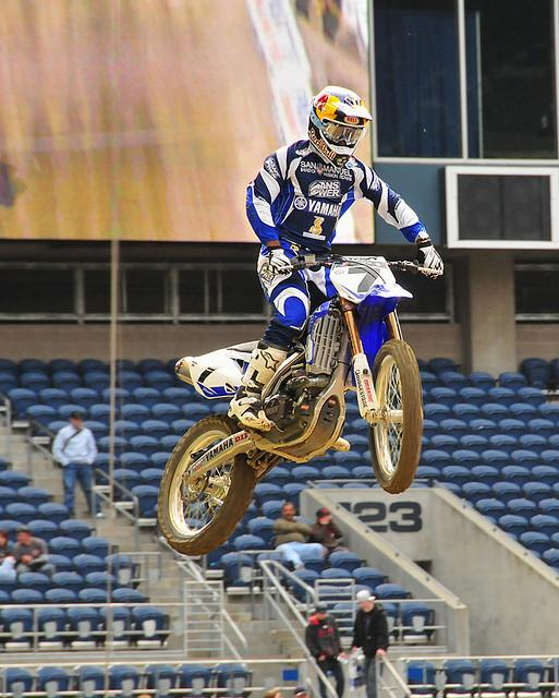 James Stewart is coming back in the supercross season. He plans on working his way to the top of the points board. Photo courtesy of http://www.flickr.com/photos/jhuffmanphotography/.