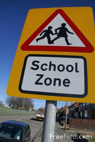 We want to keep our school safe. Courtesy of http://www.freefoto.com/preview/41-22-53/School-Zone-Road-Traffic-Sign