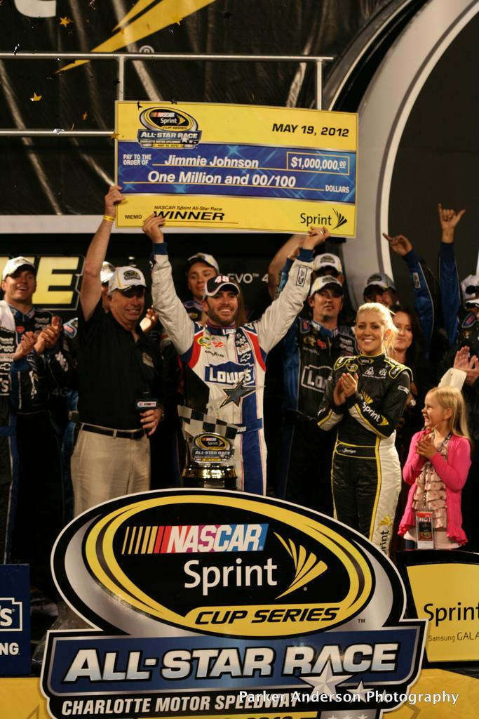 Jimmie Johnson won the Sprint All- Star race last year at Charlotte motor speedway. Photo courtesy of  PDA.PHOTO