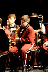 Derek Seager is playing the saxophone.  Photo by Tyler McCloskey