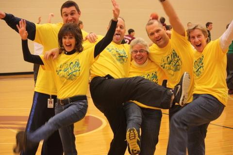 The Physical Education teachers got in the spirit. Vince Nedinmeyer ,