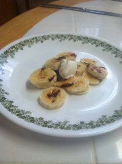 This is the finished product of the banana slices drizzled with chocolate. Photo By: April Leandri