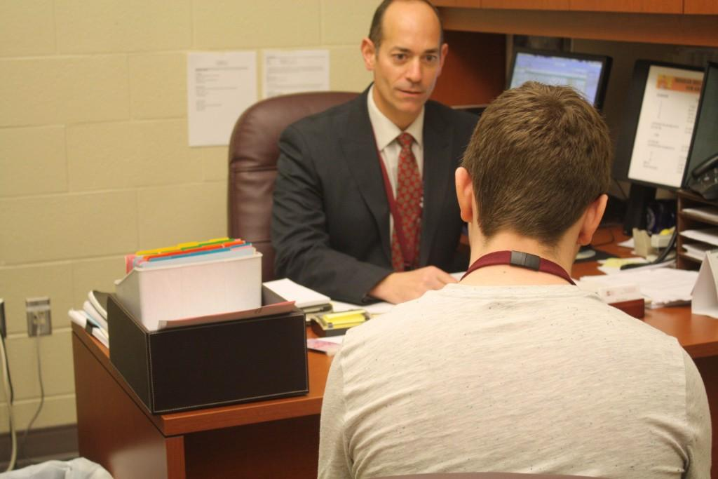 All throughout the day, Koehle meets with students. He often meets with students for disciplinary reasons.  Photo by Joanne Pringle
