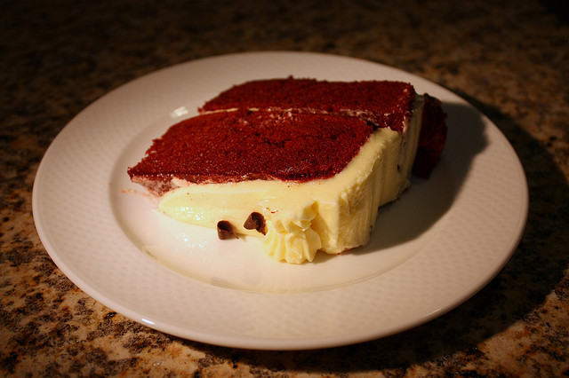 The finished product of red velvet cake. Photo courtesy of Mr. TinDC. https://www.flickr.com/photos/mr_t_in_dc/2491265448/