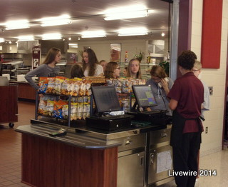 Seventh graders buy lunches on the first day of school. Photo supplied by Anna DeRubeis.