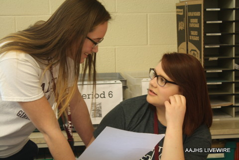 In the beginning of the week, reporters conduct inerviews.  Hannah Eberwein talks to ninth grader Lindsey Hallinan about sports.