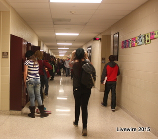 Ninth graders walking in the hallway after school one day   Photo taken by: Sarah Harmon