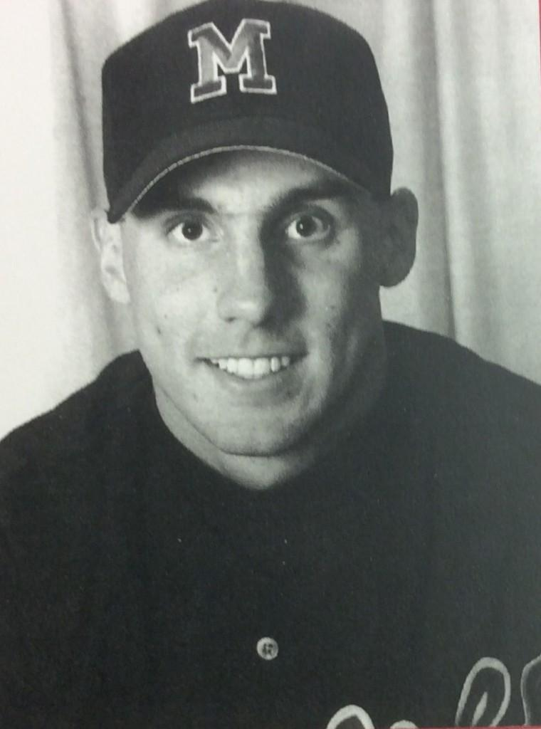 Eighth grade science teacher Paul Neatrour poses for his yearbook picture in '95.  Neatrour was a third baseman for his baseball team.