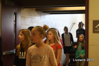Preparing for the 2015-2016 school year, incoming seventh graders toured the junior high on May 1, 2015. Tour guides showed students around the school and they got to see drama club perform skits and vocal ensemble sang for them. We wish the students the best of luck next year  Photo by Emily Simmons
