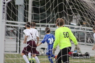 Brennan Dugan is the goalie of the seventh and eighth grade team. He kept Central Mountain from scoring any goals.