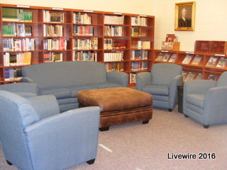 When you enter the library to the left there are couches set up for a sitting area to read. Then once you've read your book its time to go back up to class.