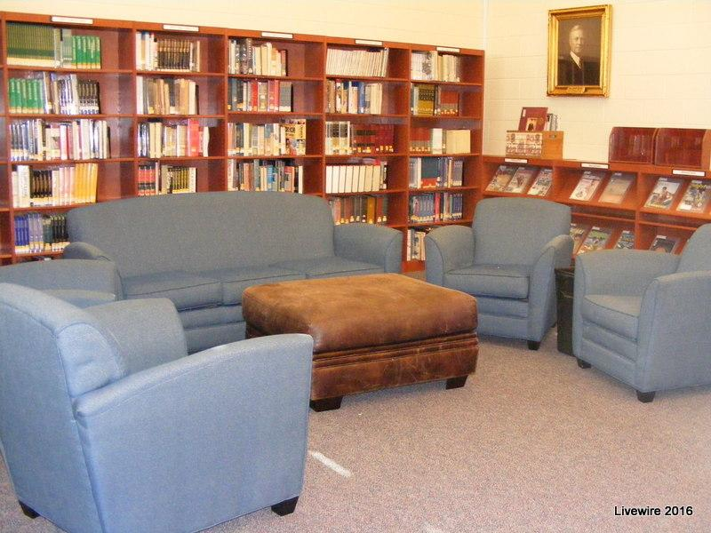 The junior high library is open and spacious in the newer building.