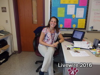 Alyssa McCombie, eighth grade teacher, teaches science. McCombie was hired this school year and this is her first year.