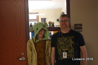 I am your teacher! Eighth grade teacher Wesley Rogers and Andrew Donlan both participated in the galaxy day. Rogers supported his love for the movie by wearing a Star Wars t-shirt while his student wore a yoda costume!
