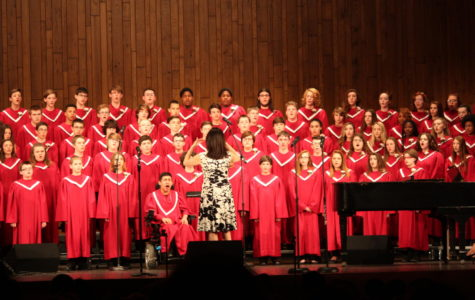 Mrs. Connell leading the chorus in its spring concert.