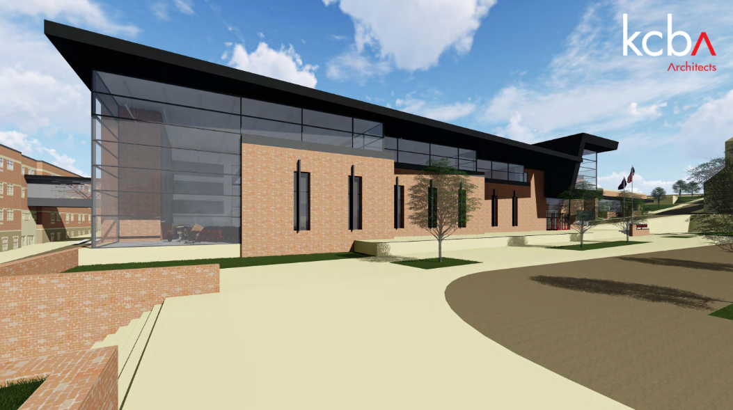Plans for what the exterior of the music suite will look like in the new B building.