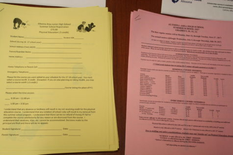 Ninth grade students pick up summer gym forms for either June or July sessions. Summer school application packets are available in the first floor guidance office.