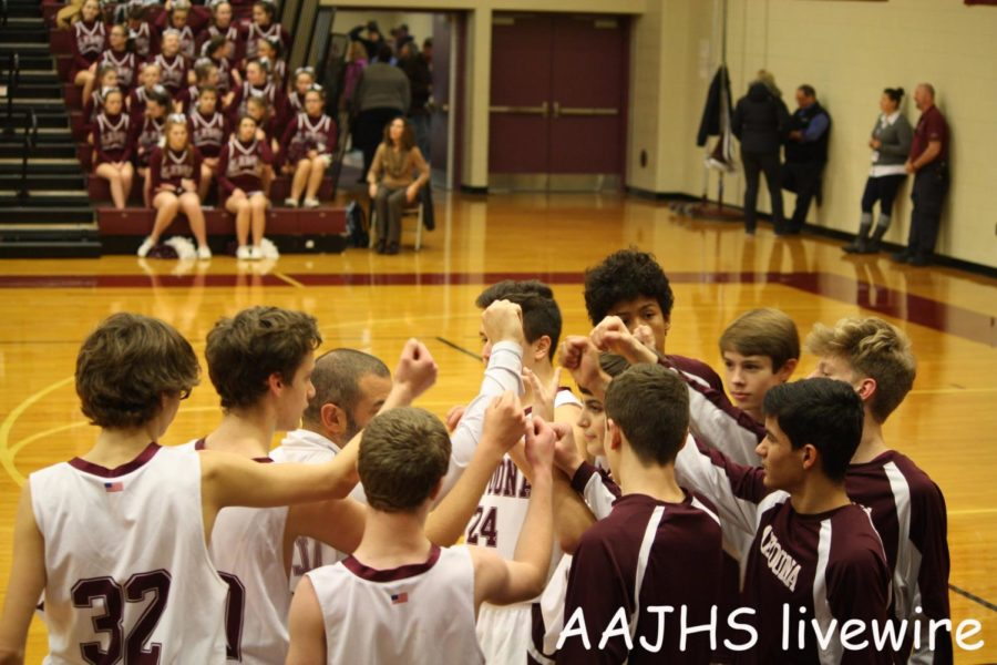 Lets+go%21%0ANinth+Grade+coach%2C++Scott+Berardinelli+starts+the+game+with+a+motivational+huddle.+Beradinelli+then+gave+another+speech+during+half+time