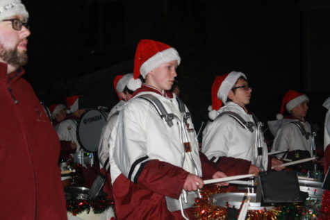 Band, front take on holiday parade