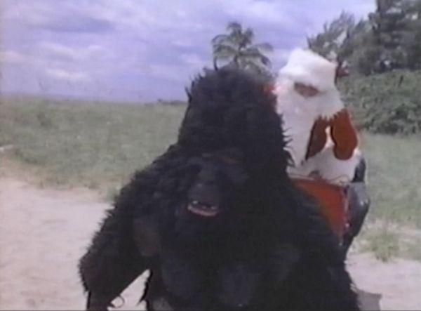 Go bananas!  Person in a gorilla costume attempts to help  Santa.  http://rifftrax.wikia.com/wiki/Santa_and_the_Ice_Cream_Bunny
