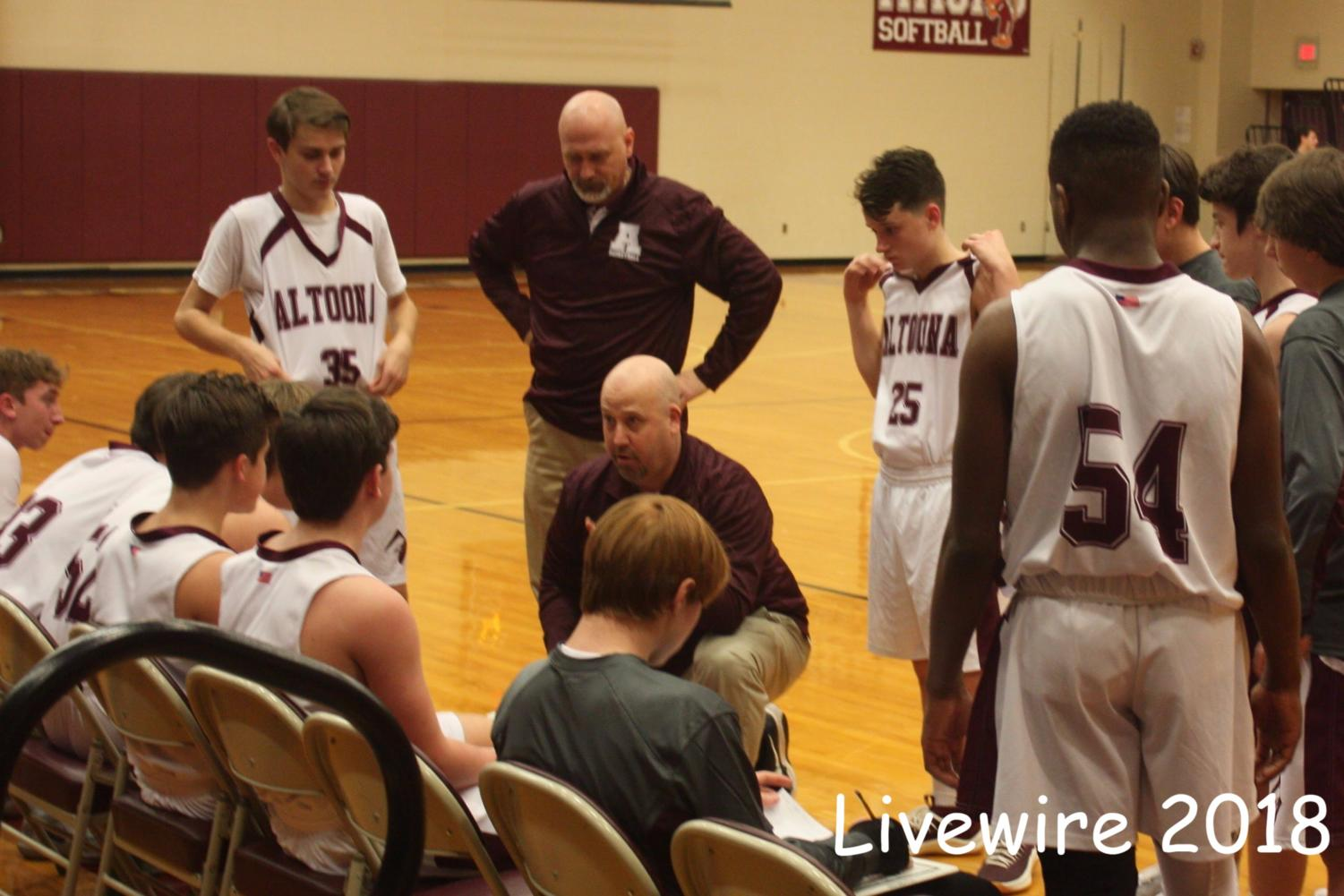You got this!  Coach Chuck Sayler coaches the team during their game. Sayler then gave another pep talk during half time.