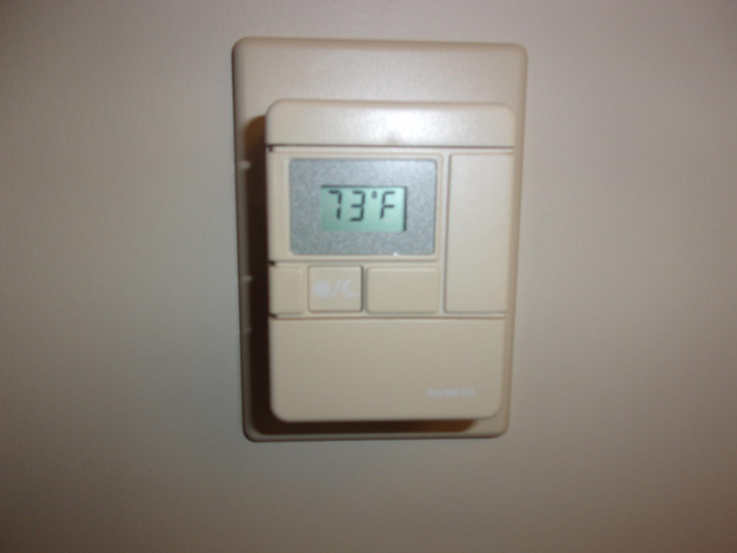 Woah!  The thermostat on February 23 says the temperature its 73 degrees.  The air coming out of the vents was 58 degrees. Photo taken by Chasity Brunner