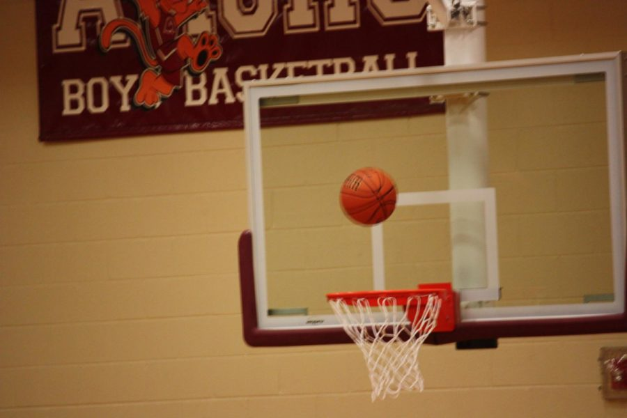 Yay%21+A+ball+falls+into+the+hoop+at+the+game+on+Jan.+29.+The+team+made+a+basket+and+almost+won+their+game