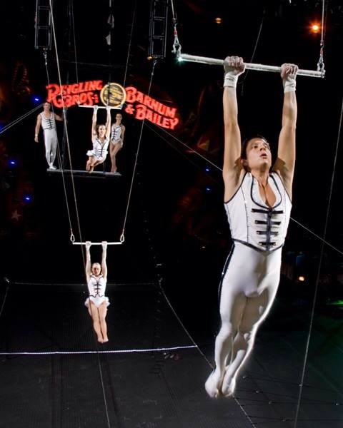 Trapeze performer, George Caceres performs at the Barnum & Bailey Circus.