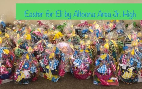 58 baskets full for those little kids who are not able to be home for Easter. The school all got together to make these baskets to send away.