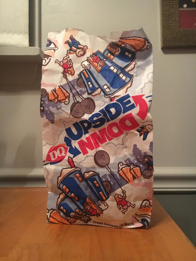 Upside down. Dairy Queens kids meal comes in bag which is shown above.