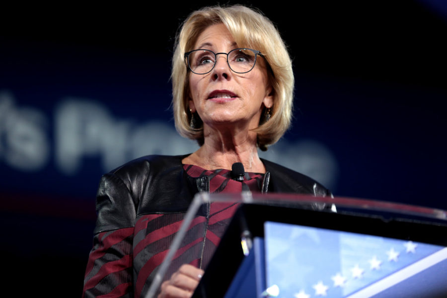 U.S. Secretary of Education Betsy DeVos speaking at the 2017 Conservative Political Action Conference (CPAC) in National Harbor, Maryland.