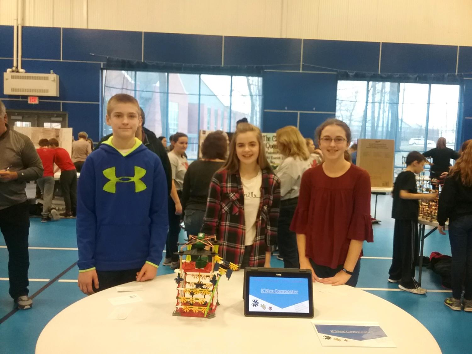 Three sevntth grade STEAM TEAM students who participated in the 2018 IU08 STEM Challenge. From left to right, the students names are Landen Fisher, Amelia Schultz and Alyssa Clark.