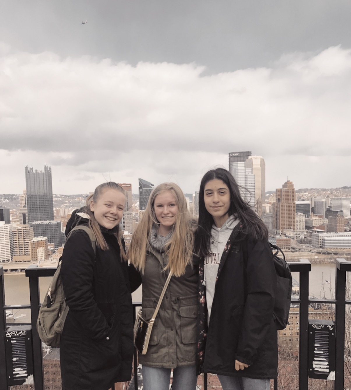 Ninth grader, Margaret Keating, takes her Austrian exchange students to see Pittsburgh as part of their visit.
