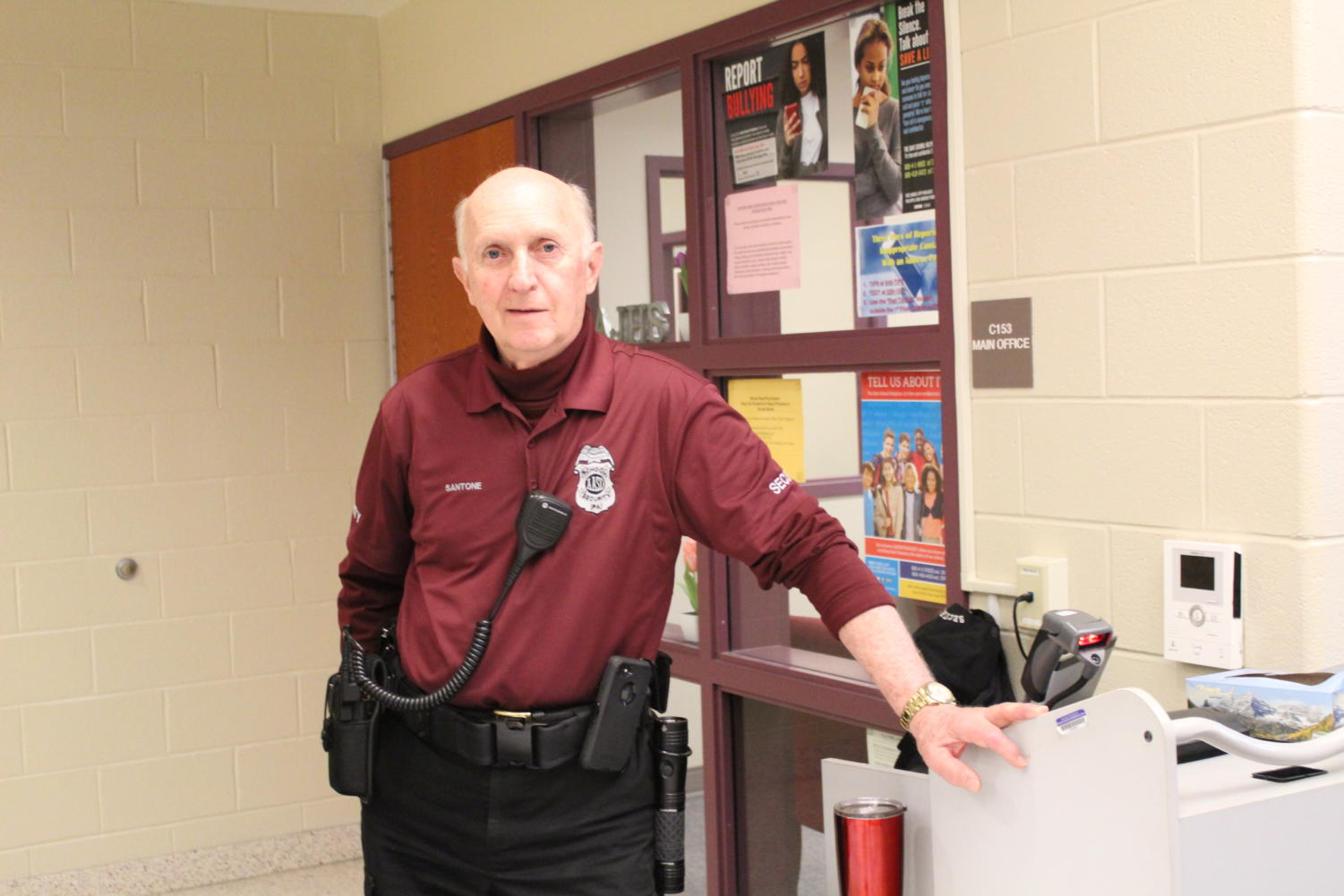 Hey there! Renny Santone, the Jr. High greeter, helps protect with school security.  He stays by the main floor office.