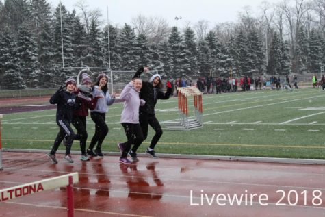 Seventh and eighth grade track practice 4-9-18