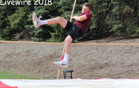 Pole Vault! Daniel Batrus vaults at the track meet on Monday April 23. Batrus vaulted against boys from Altoona and Punxsutawney