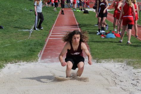 Jump! Ty Friedenberger jumps in the triple jump event at the track meet.  Friedenberger jumped against athletes from Punxsutawney.
